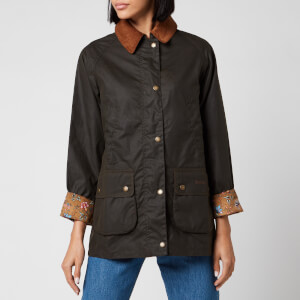Barbour X Laura Ashley Women's Poplars Wax Jacket - Olive/Indienne