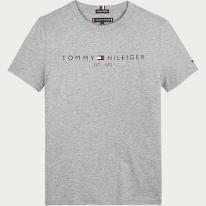 Tommy Hilfiger Boys' Essential Logo Short Sleeve T-Shirt - Mid Grey Heather