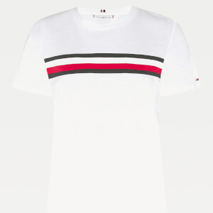 Tommy Hilfiger Women's Regular Crew Neck Global Stripe T-Shirt - White