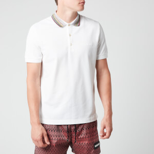 Missoni Men's Short Sleeve Collar Detail Polo Shirt - White