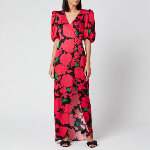 De La Vali Women's Ohio Printed Satin Long Dress - Pink Primrose