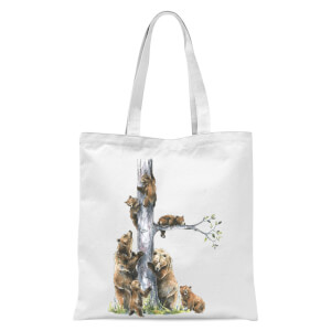Snowtap Bear Family Tote Bag - White