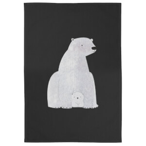 Snowtap Polar Bear And Cub Cotton Tea Towel - Black