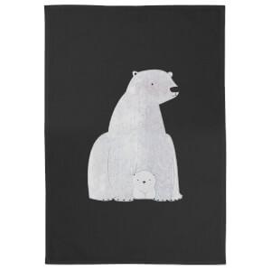 Snowtap Polar Bear And Cub Cotton Tea Towel - Black