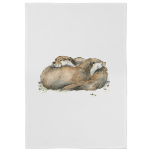 Snowtap Otters Cotton Tea Towel - White