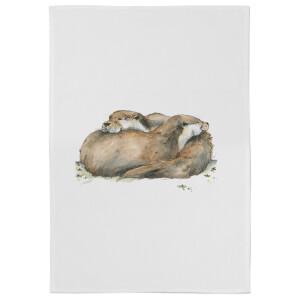 Snowtap Otters Cotton Tea Towel - White