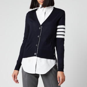 Thom Browne Women's Relaxed Fit V Neck Cardigan - Navy