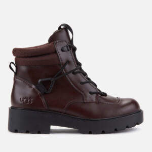 UGG Women's Tioga Waterproof Leather Hiking Style Boots - Burgundy