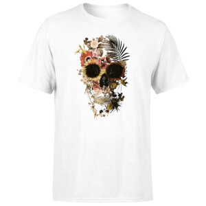 Ikiiki Floral Skull Men's T-Shirt - White
