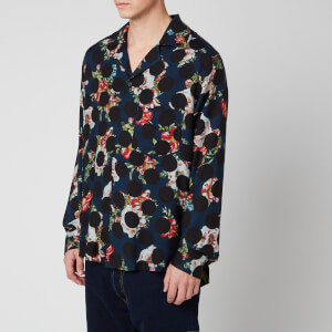 Acne Studios Men's Floral Polka Shirt - Navy Blue