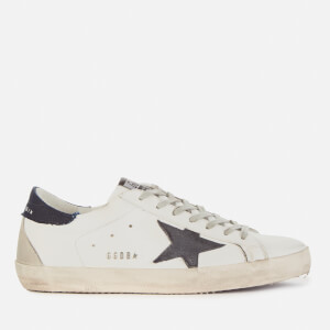 Golden Goose Deluxe Brand Men's Superstar Leather Trainers - White/Dark Blue/Night Blue