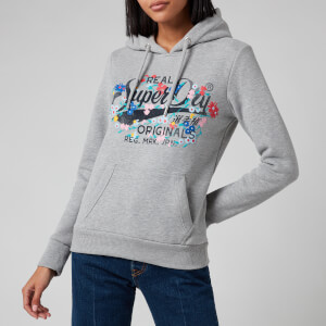 Superdry Women's Real Originals Floral Hoodie - Grey Marl