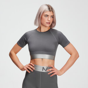 Top corto Textured Adapt para mujer de MP - Gris carbón