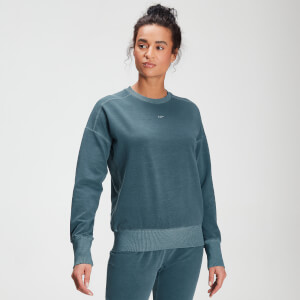 MP Women's Raw Training Washed Crew Sweatshirt - Deep Sea Blue