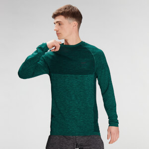 MP Men's Essential Seamless Long Sleeve Top- Energy Green Marl