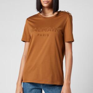 Balmain Women's 3 Button Flocked T-Shirt - Hazelnut