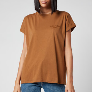 Balmain Women's Flocked Logo Detail T-Shirt - Hazelnut