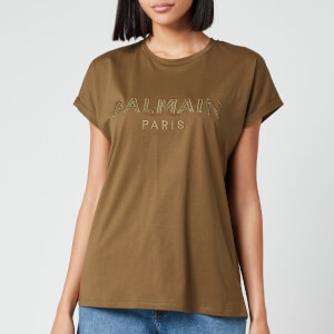 Balmain Women's Satin Logo T-Shirt - Khaki