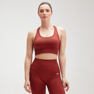 Naisten MP Shape Seamless Ultra Cross Strap -urheilutoppi − Burnt Red