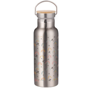 Hand Drawn Rainbow Pattern Portable Insulated Water Bottle - Steel