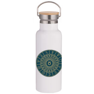 Decorative Planet Symbols Portable Insulated Water Bottle - White