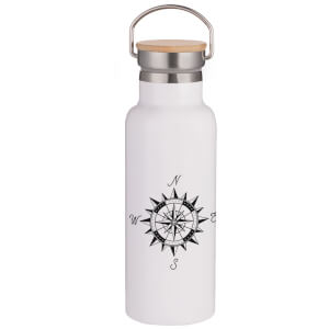 Compass Portable Insulated Water Bottle - White