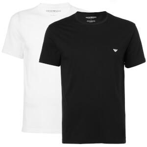 Emporio Armani Men's Small Logo Twin Pack T-Shirts - Black/White