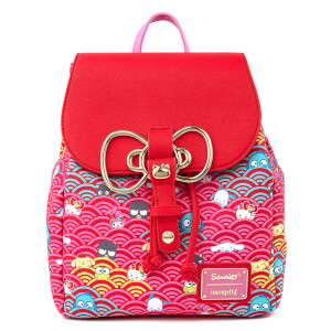 Loungefly Sanrio 60th Anniversary Gold Bow AOP Mini Backpack