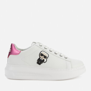 Karl Lagerfeld Women's Kapri Karl Ikonic Lo Lace Leather Flatform Trainers - Pink