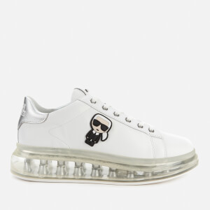 Karl Lagerfeld Women's Kapri Kushion Karl Ikonic Lo Lace Leather Trainers - White/Silver