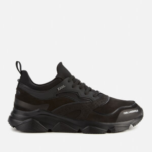 Karl Lagerfeld Men's Verge Lo Lace Leather Running Style Trainers - Black