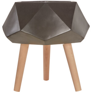 Darnell Multi-Faceted Planter - Black and Wood