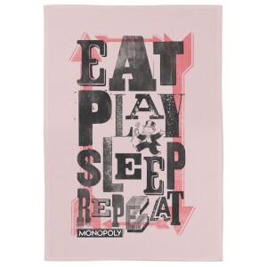 Monopoly Eat Play Sleep Repeat Tea Towel