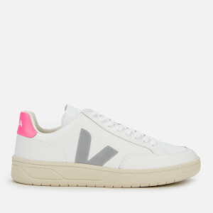 Veja Women's V-12 Leather Trainers - Extra White/Oxford Grey/Sari