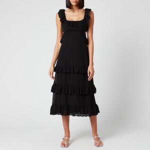 Zimmermann Women's Pleated Lace Flutter Midi Dress - Black
