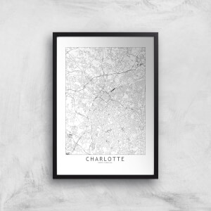 Charlotte Light City Map Giclee Art Print