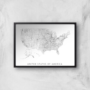 United States Of America Light Map Giclee Art Print