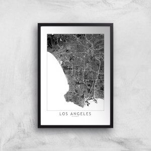Los Angeles Dark City Map Giclee Art Print