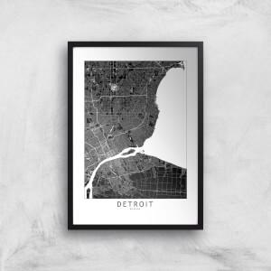 Detroit Dark City Map Giclee Art Print