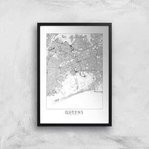 Queens Light City Map Giclee Art Print
