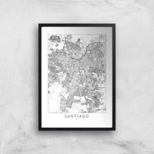 Santiago Light City Map Giclee Art Print