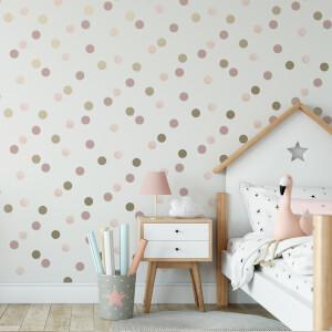 Superfresco Easy Pink/Gold Dotty Polka Wallpaper