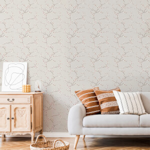 Fresco Burnt Orange Apple Blossom Wallpaper