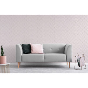 Superfresco Easy Pink Losanges Filaires Geometric Metallic Wallpaper