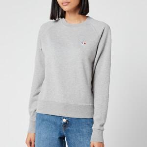 Maison Kitsuné Women's Sweatshirt Tricolor Fox Patch - Grey Melange