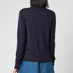 Maison Kitsuné Women's Merinos R-Neck Cardigan Fox Head Patch - Indigo