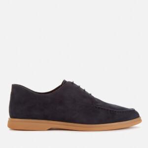 Canali Men's Gum Sole Apron Lace Suede Derby Shoes - Navy