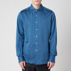 Canali Men's Cotton Stretch Sports Shirt - Mid Blue