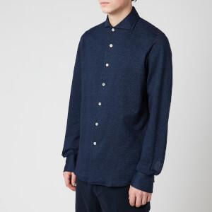 Canali Men's Cotton Herringbone Sports Shirt - Navy