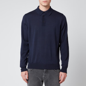 Canali Men's Long Sleeve Suede Detail Button Polo Shirt - Navy